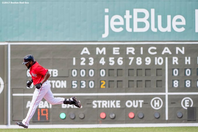 FT. MYERS, FL - MARCH 2: Jackie Bradley Jr. #19 of the Boston Red Sox rounds the bases after hitting a solo home run during the fourth inning of a Spring Training game against the Tampa Bay Rays on March 2, 2017 at Fenway South in Fort Myers, Florida. It was his second home run of the game. (Photo by Billie Weiss/Boston Red Sox/Getty Images) *** Local Caption *** Jackie Bradley Jr.