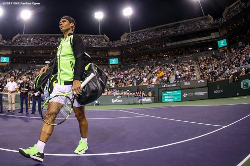 Rafael Nadal is introduced before a doubles match with Bernard Tomic against Pablo Carreno Busta and Joao Sousa at the Indian Wells Tennis Garden in Indian Wells, California on Friday, March 10, 2017. (Photo by Billie Weiss/BNP Paribas Open)
