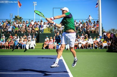 A doubles match between Gilles Muller and Sam Querrey against Juan Martin Del Potro and Leander Paes at the Indian Wells Tennis Garden in Indian Wells, California on Saturday, March 11, 2017. (Photo by Billie Weiss/BNP Paribas Open)