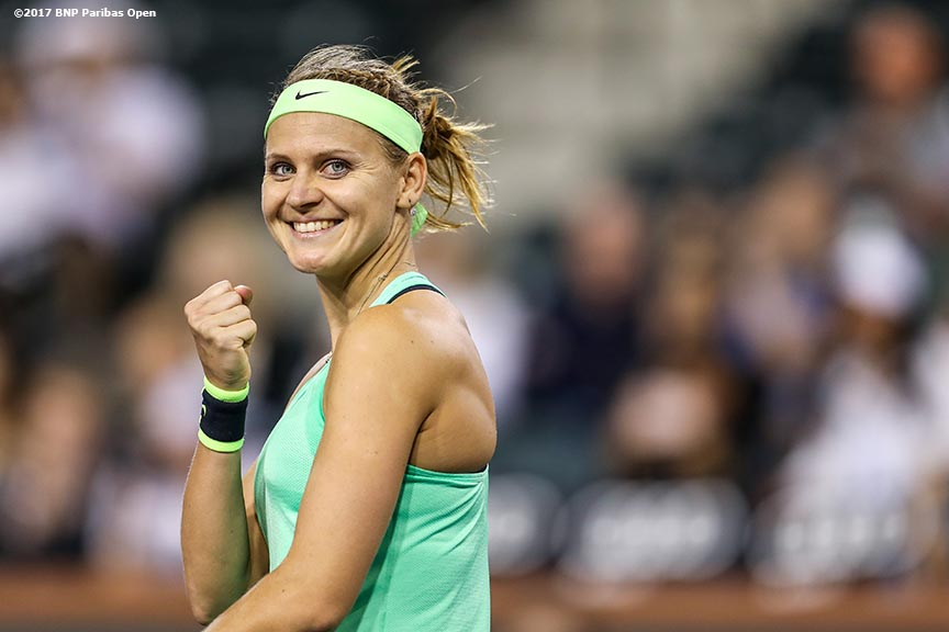 Lucie Safarova reacts after defeating Coco Vandeweghe at the Indian Wells Tennis Garden in Indian Wells, California on Saturday, March 11, 2017. (Photo by Billie Weiss/BNP Paribas Open)