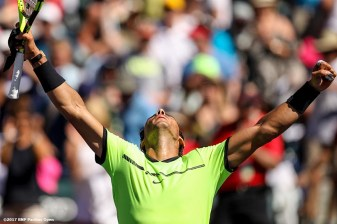 Rafael Nadal reacts after defeating Fernando Verdasco at the Indian Wells Tennis Garden in Indian Wells, California on Tuesday, March 14, 2017. (Photo by Billie Weiss/BNP Paribas Open)