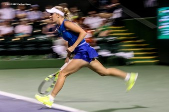 Caroline Wozniacki in action during a match against Katerina Siniakova during the 2017 BNP Paribas Open at the Indian Wells Tennis Garden in Indian Wells, California on Monday, March 13, 2017. (Photo by Billie Weiss/BNP Paribas Open)
