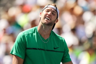 Jack Sock reacts during the men's semi-final against Roger Federer at the Indian Wells Tennis Garden in Indian Wells, California on Saturday, March 18, 2017. (Photo by Billie Weiss/BNP Paribas Open)