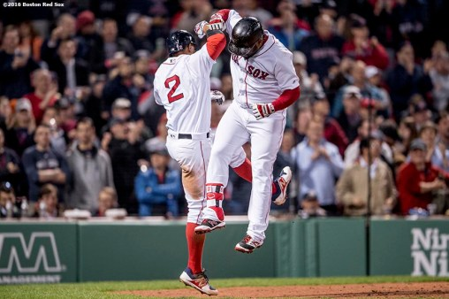 BOSTON, MA - APRIL 12: Pablo Sandoval #48 of the Boston Red Sox reacts with Xander Bogaerts #2 after hitting a two run home run during the fourth inning of a game against the Baltimore Orioles April 12, 2017 at Fenway Park in Boston, Massachusetts. (Photo by Billie Weiss/Boston Red Sox/Getty Images) *** Local Caption *** Pablo Sandoval; Xander Bogaerts