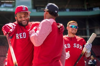 BOSTON, MA - APRIL 15: Marco Hernandez #4, and Pablo Sandoval #48 of the Boston Red Sox react during batting practice before a game against the Tampa Bay Rays on April 15, 2017 at Fenway Park in Boston, Massachusetts. (Photo by Billie Weiss/Boston Red Sox/Getty Images) *** Local Caption *** Marco Hernandez; Pablo Sandoval