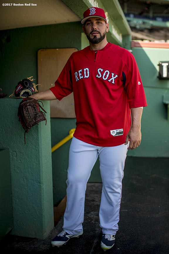 BOSTON, MA - APRIL 16: Robby Scott #63 of the Boston Red Sox poses for a photograph before a game against the Tampa Bay Rays on April 16, 2017 at Fenway Park in Boston, Massachusetts. (Photo by Billie Weiss/Boston Red Sox/Getty Images) *** Local Caption *** Robby Scott