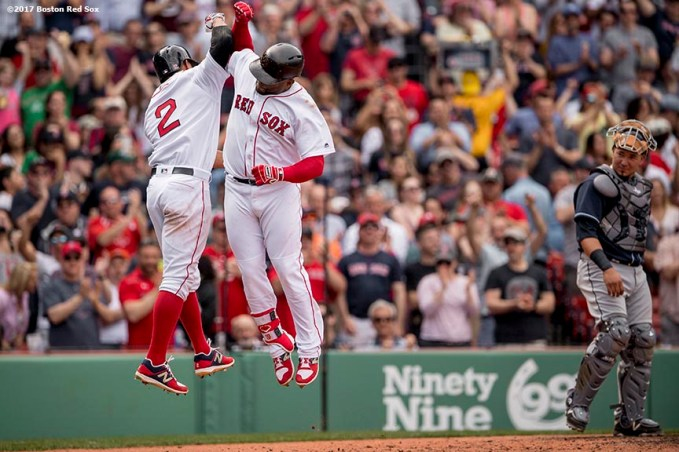 BOSTON, MA - APRIL 16: Pablo Sandoval #48 of the Boston Red Sox high fives Xander Bogaerts #2 after hitting a game tying two run home run during the fourth inning of a game against the Tampa Bay Rays on April 16, 2017 at Fenway Park in Boston, Massachusetts. (Photo by Billie Weiss/Boston Red Sox/Getty Images) *** Local Caption *** Pablo Sandoval; Xander Bogaerts