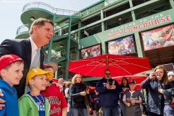 April 19, 2017, Boston, MA: Boston Mayor Marty Walsh poses for a photograph with fans during Little League Opening Day at Fenway Park in Boston, Massachusetts Wednesday, April 19, 2017. (Photo by Billie Weiss/Boston Red Sox)