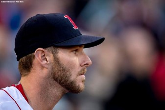 BOSTON, MA - APRIL 27: Chris Sale #41 of the Boston Red Sox looks on before a game against the New York Yankees on April 27, 2017 at Fenway Park in Boston, Massachusetts. (Photo by Billie Weiss/Boston Red Sox/Getty Images) *** Local Caption *** Chris Sale