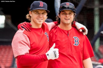 BOSTON, MA - MAY 3: Brock Holt #12 and Andrew Benintendi #16 of the Boston Red Sox pose before a game against the Baltimore Orioles on May 3, 2017 at Fenway Park in Boston, Massachusetts. (Photo by Billie Weiss/Boston Red Sox/Getty Images) *** Local Caption *** Andrew Benintendi; Brock Holt