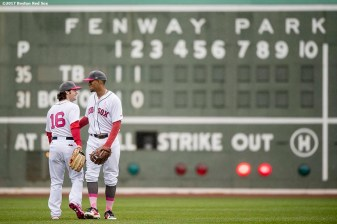 BOSTON, MA - MAY 14: Andrew Benintendi #16 of the Boston Red Sox reacts with Xander Bogaerts #2 after catching a fly ball during the third inning of a game against the Tampa Bay Rays on May 14, 2017 at Fenway Park in Boston, Massachusetts. (Photo by Billie Weiss/Boston Red Sox/Getty Images) *** Local Caption *** Andrew Benintendi; Xander Bogaerts