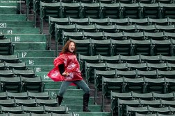 BOSTON, MA - MAY 14: A fan dances during a game between the Boston Red Sox and the Tampa Bay Rays on May 14, 2017 at Fenway Park in Boston, Massachusetts. (Photo by Billie Weiss/Boston Red Sox/Getty Images) *** Local Caption ***