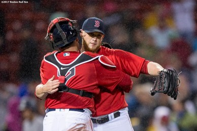 BOSTON, MA - MAY 26: Craig Kimbrel #47 and Christian Vazquez #7 of the Boston Red Sox celebrate a victory against the Seattle Mariners on May 26, 2017 at Fenway Park in Boston, Massachusetts. (Photo by Billie Weiss/Boston Red Sox/Getty Images) *** Local Caption *** Craig Kimbrel; Christian Vazquez