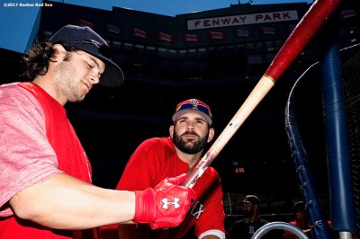 BOSTON, MA - MAY 27: Mitch Moreland #18 of the Boston Red Sox and Andrew Benintendi #18 take batting practice before a game against the Seattle Mariners on May 27, 2017 at Fenway Park in Boston, Massachusetts. (Photo by Billie Weiss/Boston Red Sox/Getty Images) *** Local Caption *** Mitch Moreland; Andrew Benintendi