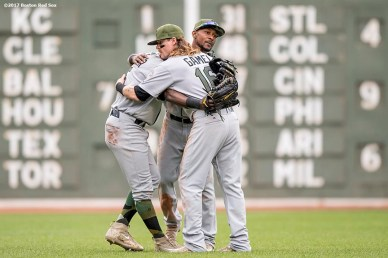 BOSTON, MA - MAY 28: Jarrod Dyson #1, Ben Gamel #16, and Guillermo Heredia #5 of the Seattle Mariners celebrate a victory against the Boston Red Sox on May 28, 2017 at Fenway Park in Boston, Massachusetts. (Photo by Billie Weiss/Boston Red Sox/Getty Images) *** Local Caption *** Jarrod Dyson; Ben Gamel; Guillermo Heredia