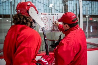 December 2, 2016, Waltham, MA: Waltham High School hockey coach John Macguire coaches during a practice at Veterans Memorial Skating Rink in Waltham, Massachusetts Friday, December 2, 2016. (Photo by Billie Weiss/Babson College Magazine)