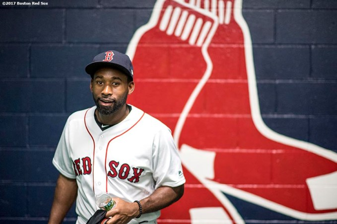 BOSTON, MA - JUNE 12: Jackie Bradley Jr. #19 of the Boston Red Sox reacts in the tunnel before a game against the Philadelphia Phillies on June 12, 2017 at Fenway Park in Boston, Massachusetts. (Photo by Billie Weiss/Boston Red Sox/Getty Images) *** Local Caption *** Jackie Bradley Jr.