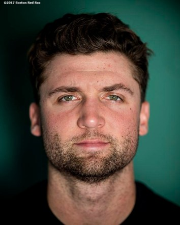 BOSTON, MA - JUNE 24: Sam Travis #59 of the Boston Red Sox poses for a portrait before a game against the Los Angeles Angels of Anaheim on June 24, 2017 at Fenway Park in Boston, Massachusetts. (Photo by Billie Weiss/Boston Red Sox/Getty Images) *** Local Caption *** Sam Travis