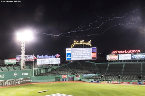 BOSTON, MA - JUNE 27: Lightning strikes during a game between the Minnesota Twins and the Boston Red Sox on June 27, 2017 at Fenway Park in Boston, Massachusetts. (Photo by Billie Weiss/Boston Red Sox/Getty Images) *** Local Caption ***