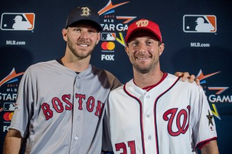 MIAMI, FL - JULY 10: Chris Sale #41 of the Boston Red Sox poses for a photograph with Max Scherzer #31 of the Washington Nationals as they are announced as the starting pitchers during Gatorade All-Star Workout Day at Marlins Park on July 10, 2017 in Miami, Florida. (Photo by Billie Weiss/Boston Red Sox/Getty Images) *** Local Caption *** Chris Sale; Max Scherzer