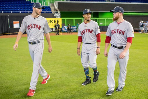 MIAMI, FL - JULY 10: Chris Sale #41, Mookie Betts #50, and Craig Kimbrel #46 of the Boston Red Sox walk onto the field during Gatorade All-Star Workout Day at Marlins Park on July 10, 2017 in Miami, Florida. (Photo by Billie Weiss/Boston Red Sox/Getty Images) *** Local Caption *** Mookie Betts; Chris Sale; Craig Kimbrel
