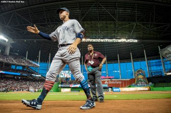 MIAMI, FL - JULY 11: Aaron Judge #99 of the New York Yankees reacts before 88th MLB All-Star Game at Marlins Park on July 11, 2017 in Miami, Florida (Photo by Billie Weiss/Boston Red Sox/Getty Images) *** Local Caption *** Aaron Judge