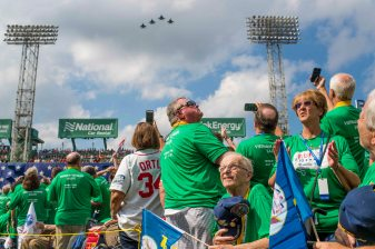 BOSTON, MA - JULY 15: A flyover is held as Veterans are introduced onto the field during a ceremony honoring Vietnam Veterans before a game between the Boston Red Sox and the New York Yankees on July 15, 2017 at Fenway Park in Boston, Massachusetts. (Photo by Billie Weiss/Boston Red Sox/Getty Images) *** Local Caption ***