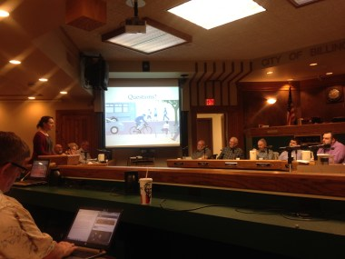 Lo testifying for Complete Streets at City Council