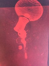 Bill Jones, red spill # 1, 2015, cyanotype, 8x10 inches