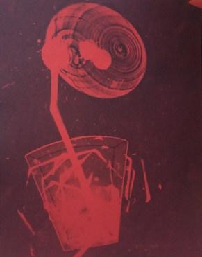 Bill Jones, red spill # 5, 2015, cyanotype, 8x10 inches