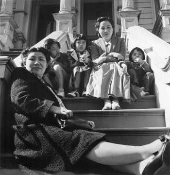Husbands of these two women are being held as dangerous enemy aliens. Wives and children were evacuated with other persons of Japanese ancestry. San Francisco, California, 1942