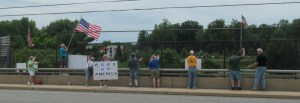 Border Crisis Rally At I-95 on the overpass in Boothwyn