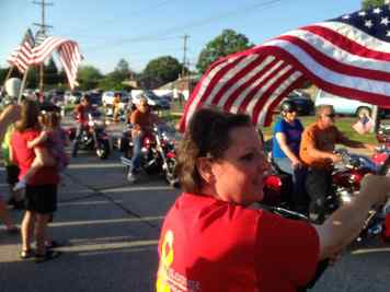 Honor Flight Philadelphia Spring 2015 Trip The five buses with a vanguard of bikers entered the lot  just before 7 p.m. through a ladder arch placed on Sproul Road by volunteer firemen and festooned with an American flag.