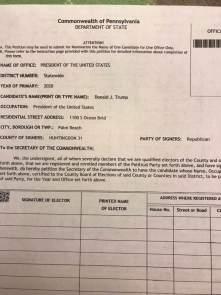 Pennsylvania Trump Petition Problems