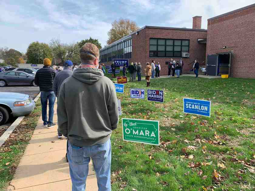 Long Voting Lines In Philadelphia Suburbs -- Here is the line at 11:58 a.m., Nov. 3, at the 6th Ward polling station at Scenic Hills Elementary School in
