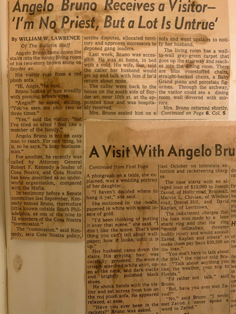 Angelo Bruno Receives Visitor --The Philadelphia Evening Bulletin, on Feb. 23, 1964, published the below article by their reporter William Lawrence Sr.
