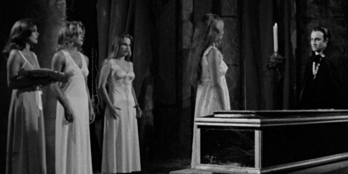 We've got four lovely ladies and Paul Naschy at Count Dracula in a shot from Count Dracula's Great Love.
