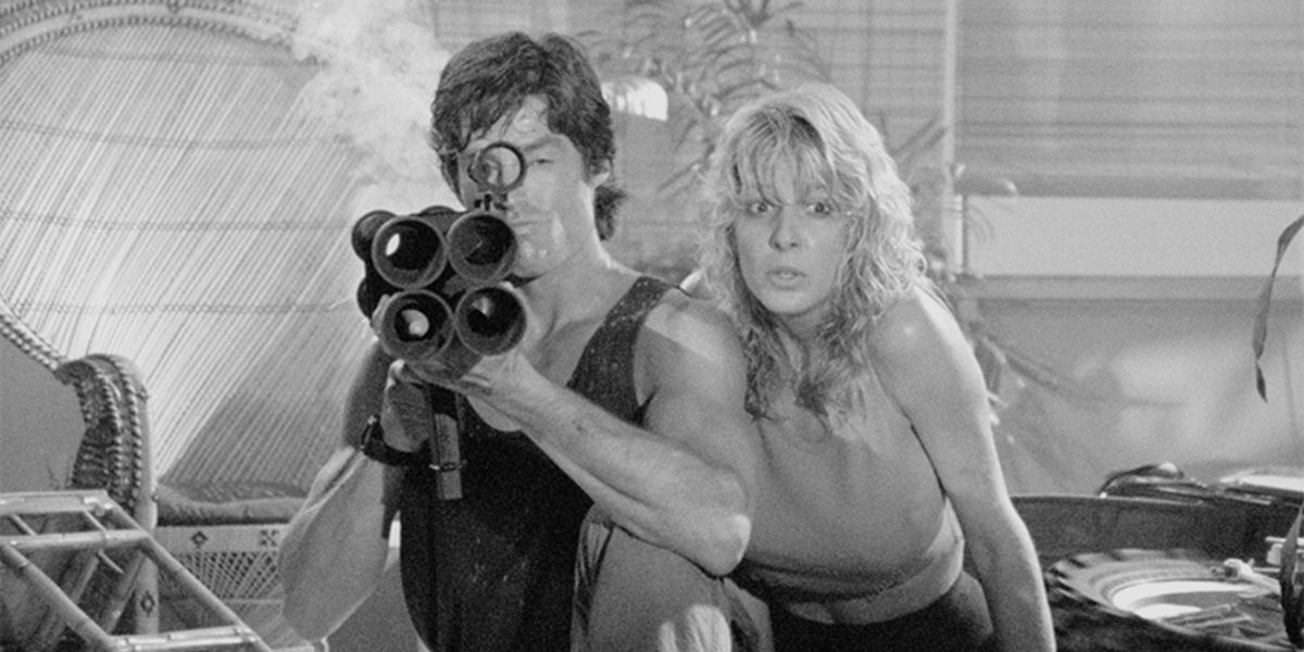 In this screen shot from Hard Ticket To Hawaii, we have a guy holding a bazooka and getting ready to shoot a poisonous snake. Yep.
