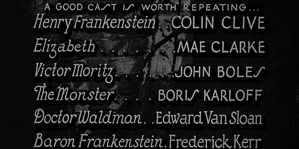 This is an image showing the credits for the film Frankenstein, which I use to illustrate my own music and sound effects credits used in the podcast.