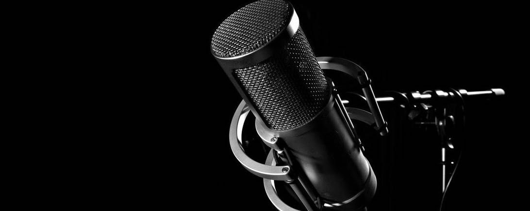 It's a shot of a microphone, essential gear for podcasting
