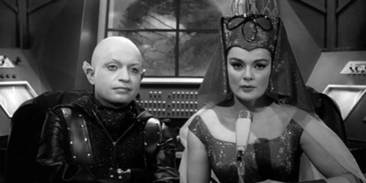 Shot of Princess Marcuzan and Doctor Nadir from the film Frankenstein Meets the Spacemonster
