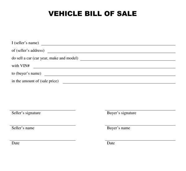 motorcycle bill of sale nc