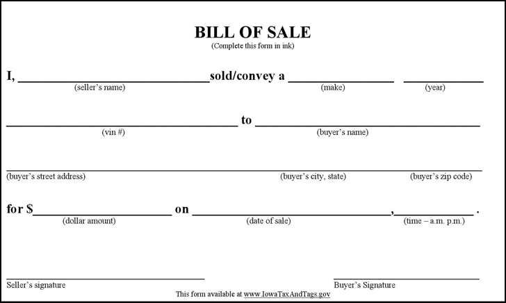 bill of sale form template vehicle  printable