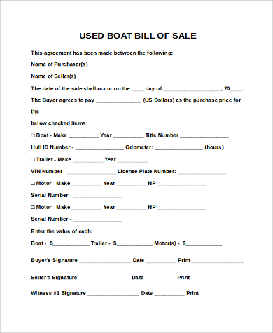 Printable Bill of Sale for Boat