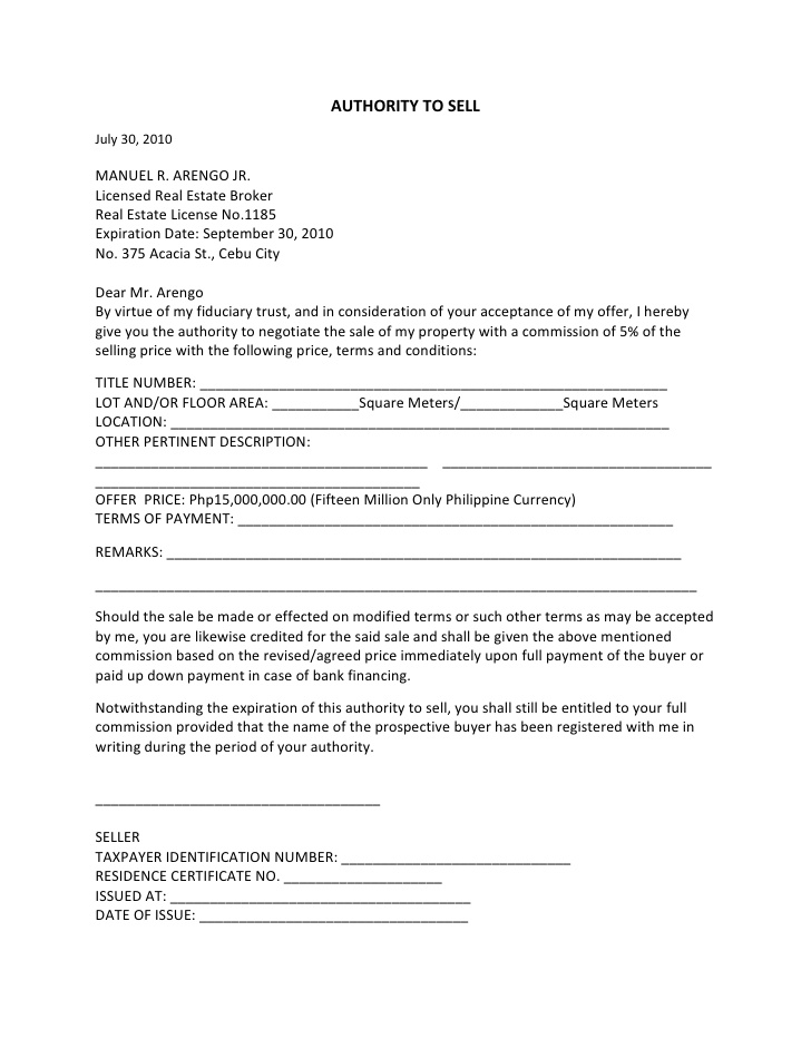 Sample Letter of Offer To Sell Property
