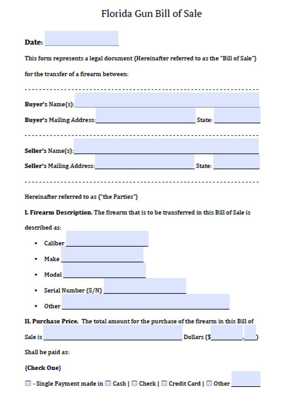 bill of sale florida