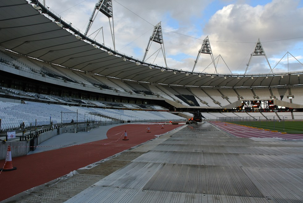 London track and field stadium under construction
