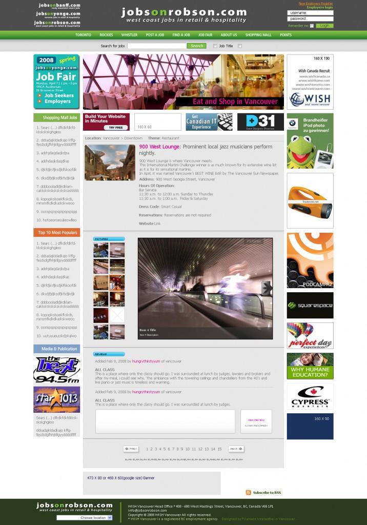jobsonrobson.com shopping section sub-page