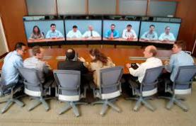 Old fashioned view of video conference