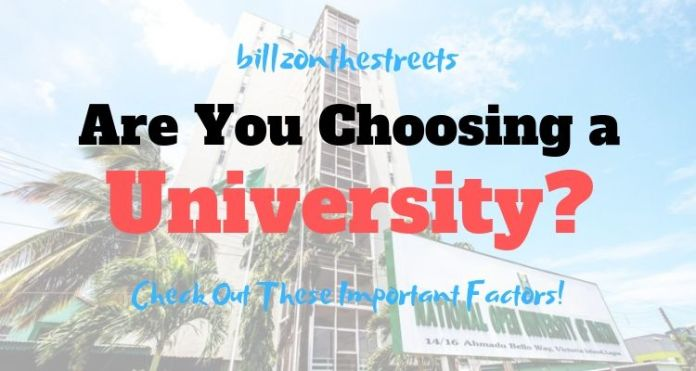Factors to Consider before choosing a university